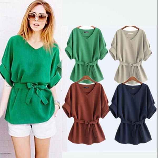 Faldas del arco coreano corto Batwing con cuello en v blusa de la camisa de las mujeres de lino Retro Tops camisa sólida de la vendimia OOA4709