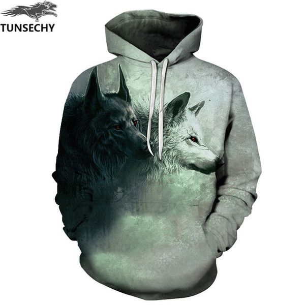 TUNSECHY Brand New Fashion Wolf Hoodies Men/women 3D Sweatshirts Print Double Wolf Hoody Hooded Hoodies Tracksuits Tops L18101005