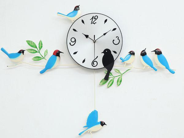A060 wall clock clocks painting birds home decor decoration new design swing garden blue orange red
