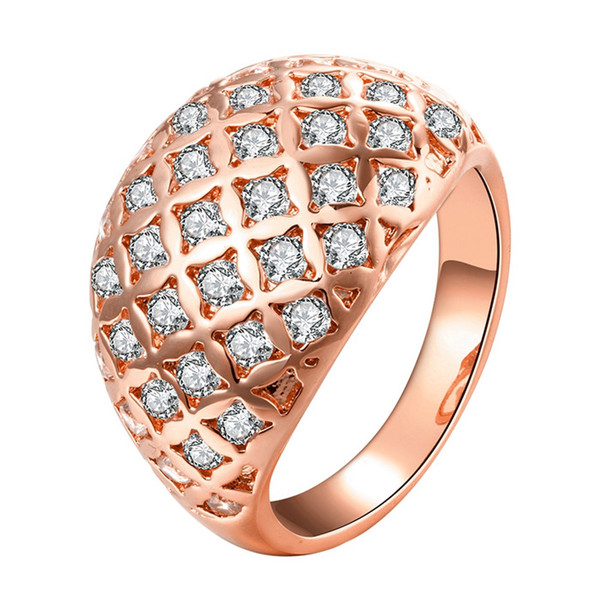 New Design 18K gold plated CZ diamond finger rings fashion jewelry beautiful style party size 7 # 8 #