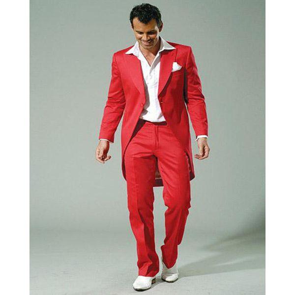 Fashion red men's suit tuxedo suit two-piece suit (coat + pants,) suitable for the groom / groomsmen wedding dress
