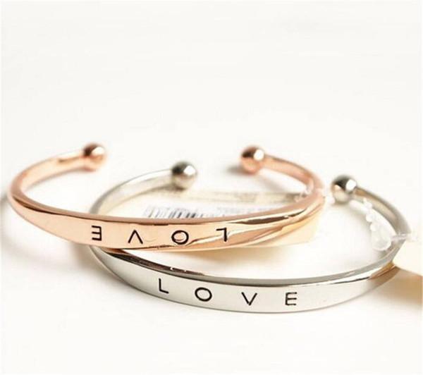 Навсегда Любовь открытый браслет браслет-манжета серебро розовое золото регулируемые браслеты для женщин любителей ювелирных изделий подарок KKA1986