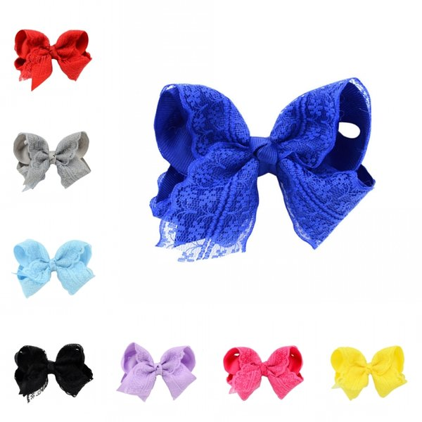 Elegant Flower Lace HairPins Hair bows 12 Colors For Younger Kids Newborn Girl Ribbon Bowknot Hair Clips Headwear D496Q