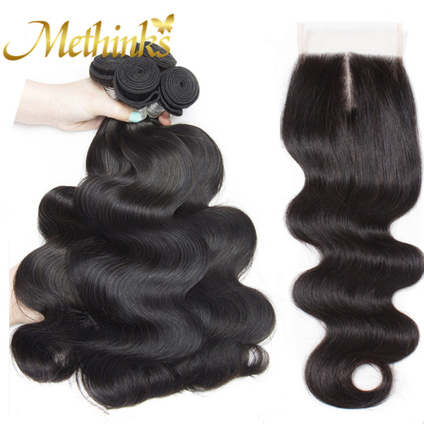Methinks Hair Peruvian Body Wave 4 Bundles With Closure 5Pcs/Lot Human Hair Bundles With Closure Remy Hair Bundle With Closure