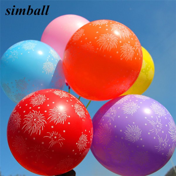 shower 10pcs/lot Printed Baloons Fireworks Stars Latex Balloons Wedding Birthday Party Decoration Inflatable Air Ballons Baby