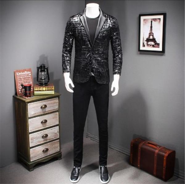 PU leather jacket black male boy blazer outerwear dancer singer dress performance show nightclub slim star Sequins windbreaker prom fashion