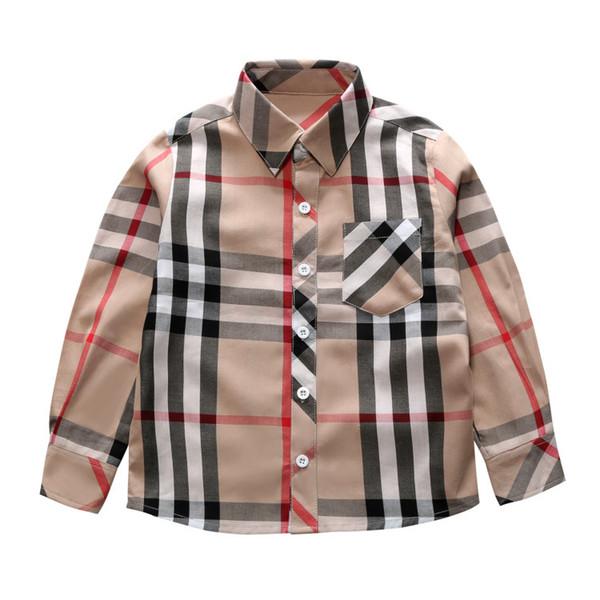 top popular Classic boys plaid shirt designer kids lapel long sleeve shirt children single breasted pocket casual lattice tops fall boys clothing F1640 2021