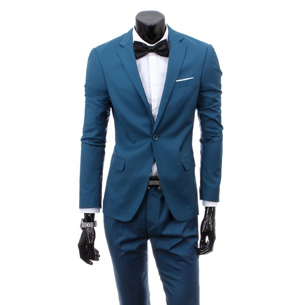 Men Suit New Fashion Society Male Suit Two-piece Slim Solid Color Business Casual Dress Professional Wear Groom Dress