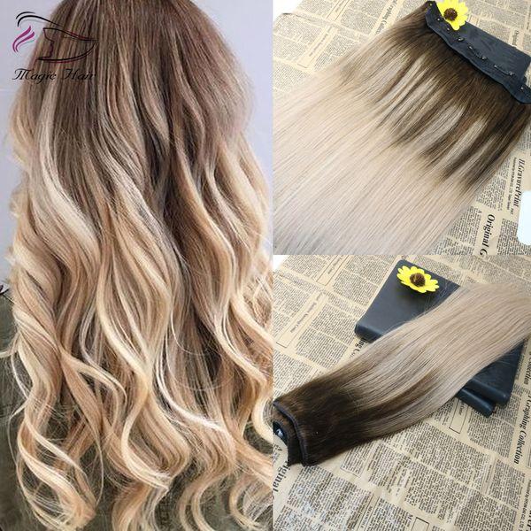 5 Clips One Piece Clip Dans Les Extensions De Cheveux Humains Avec La Dentelle Droite Brésilienne Vierge De Cheveux Ombre Balayage Couleur # 4 Fading To # 18