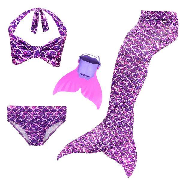 2018 New Girls Swimming Mermaid Tails Costume Little Children Ariel Mermaid Swimsuit Kids Swimwear Bathing Suit Can Add Fin