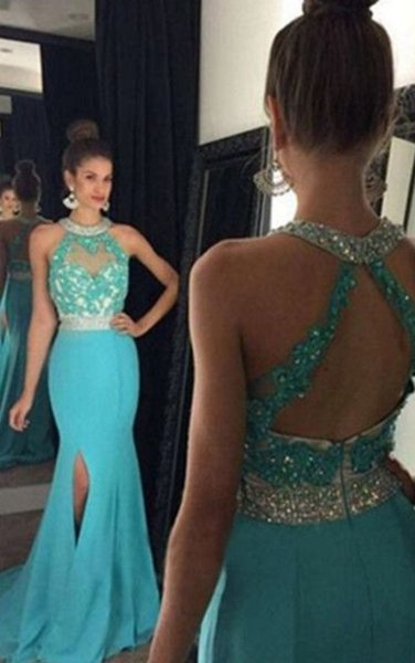 Affordable Side Slit Mermaid Prom Dresses Long Chiffon High Neck Lace Keyhole Back Bling Crystal Beaded Sequins Chiffon Evening Formal Gowns