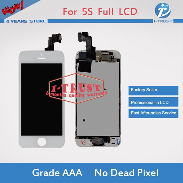 Full Assembly Set Touch Screen Digitizer For iPhone 5S 5G 5C LCD or Display with Home Button & Front Camera +Repair Tools + Free Shipping