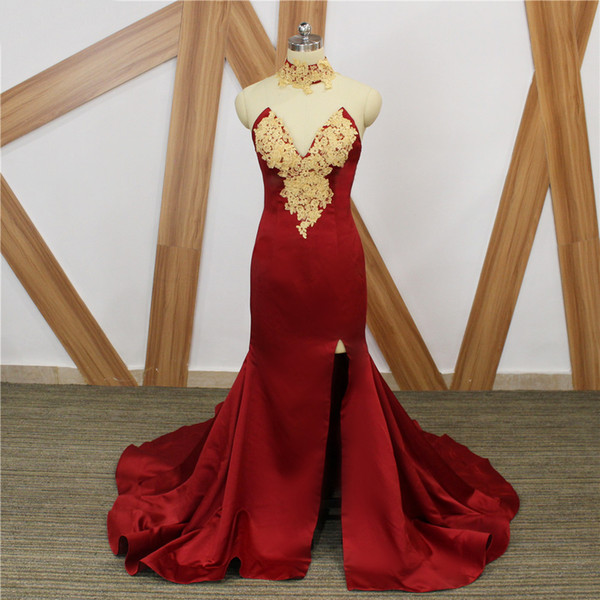 Beautiful Burgundy 2018 Prom Dresses New Real Image Gold Lace Satin Side Split Sexy Mermaid Long African Formal Dress Evening Wear Cheap