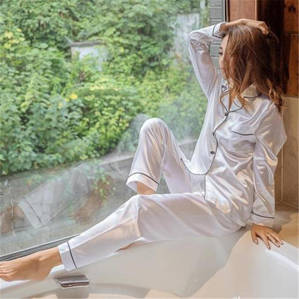 bb3bba155 2019 Autumn Women Casual Pajamas Sets Elegant Set Fashion Sleepwear ...