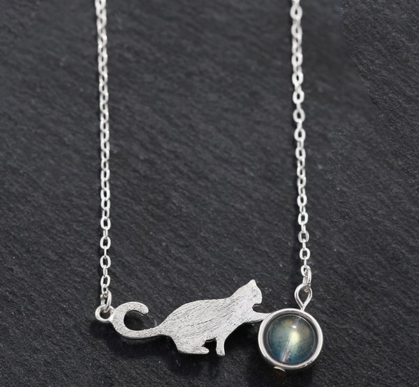 Silver White Cat Pendant Necklace