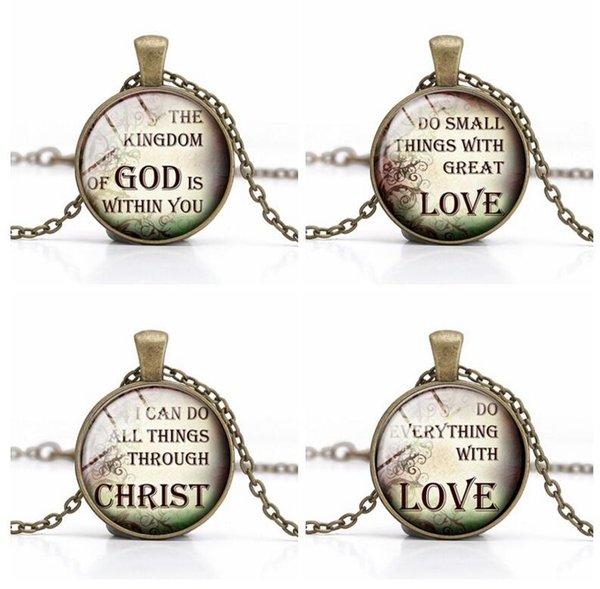 Christliche Zitate Anhänger Halskette Jesus Christus Glas Cabonchon handgemachte Charme wohl bekannte Sprüche inspirierende Sprache Weihnachtsgeschenk 30 Stck