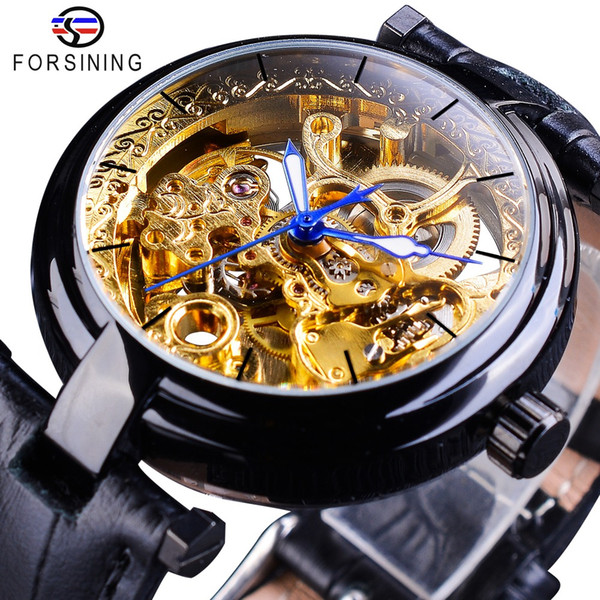 Forsining Retro Black Golden Skeleton Watches Blue Luminous Hands Reloj de pulsera transparente de cuero genuino de los hombres mecánicos reloj