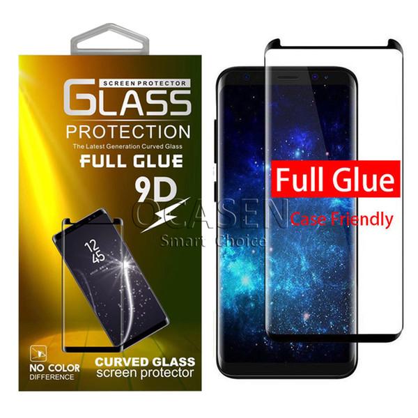 Caso adesivo full adhesive friendly 3d 5d vidro temperado para samsung galaxy s9 s8 além de nota 9 8 s7 edge com pacote de varejo