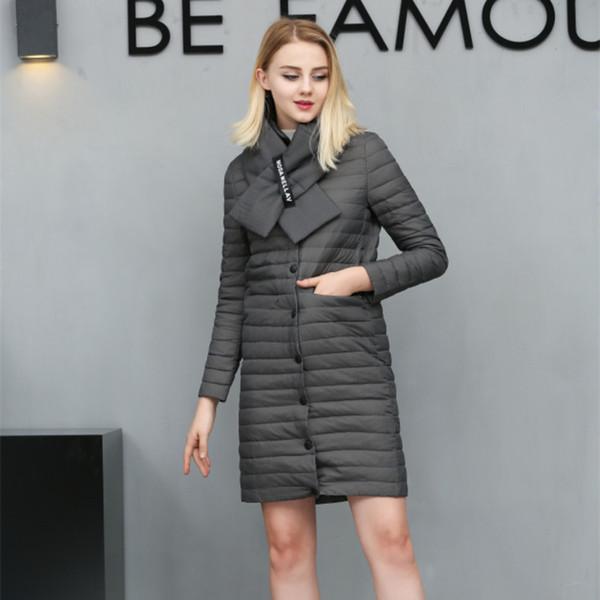 Version coréenne de la longue veste en duvet d'une femme écharpe en duvet de canard blanc à col droit Vêtements d'hiver pour femmes