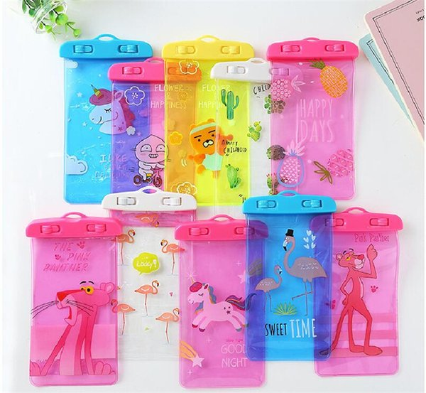 2018 With Lanyard Waterproof phone Pouch Pink Panther Unicorn Flamingo Emoji Cartoon Print Under Water Mobile Bags Sealed Case for iphone x