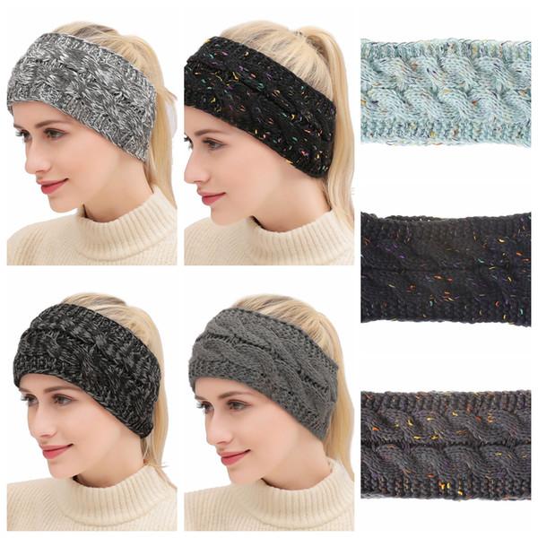 Bandas de punto 21 Colores Crochet Twist Headwear Turban Winter Ear Warmer Headwrap Elástico Banda para el Cabello Accesorios Para el Cabello OOA5765