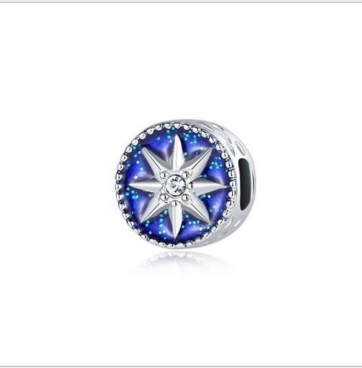 Fits Pandora Bracelets 30pc Star of David Hexagram Enamel Silver Charm Bead Loose Beads For Wholesale Diy European Sterling Necklace Women