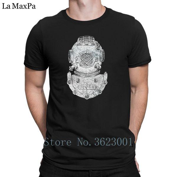 Print Round Neck Tshirt Deep Sea Diver Helmet Block Illustration On Dark T Shirt Weird 2018 T-Shirt For Men Casual Tee Tops Slim