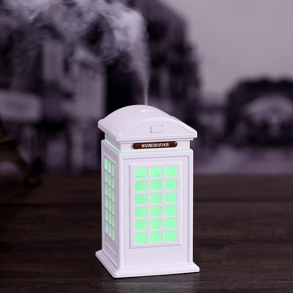 Humidificateur d'air de cabine de téléphone de 3 couleurs Mignon diffuseur de lumière de nuit de bureau d'USB humidificateur d'air de voiture