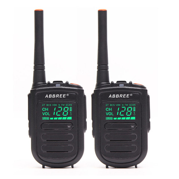 2Pcs Abbree A-168 Mini Portable Walkie Talkie with Hidden Display USB Charger 128 Channels UHF 400-470MHz CB Ham Two Way Radio
