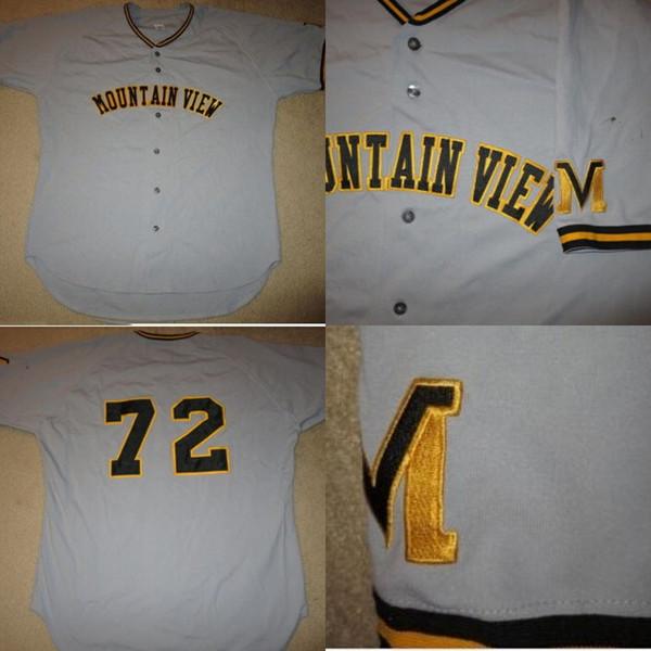 Mountain View High School # 72 Juego de béisbol Worn Jersey 100% cosido Custom Baseball Jerseys Cualquier número de nombre Envío gratuito