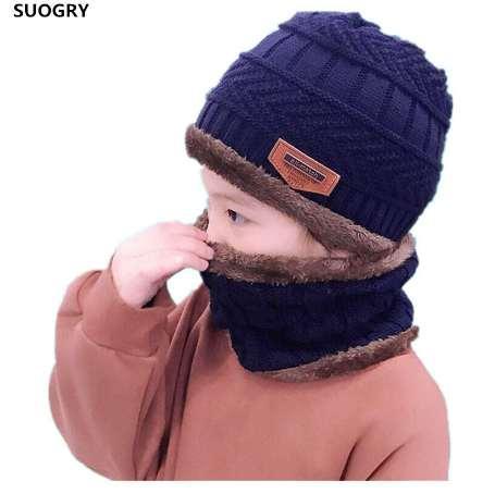 SUOGRY Niños conjunto de gorro y bufanda de invierno para niños niñas gorro  de punto para niños Polar Skullies Gorros Balaclava db955c4bd94