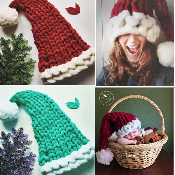 Christmas Hat Weaving Solid Color Red/Green/Wine Red Children Adult Flexibility Family Match Christmas Crochet Hat & Cap