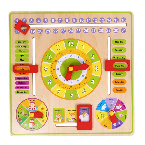 Multifunctional Cartoon Wooden Clock Cognitive Calendar Season Date Kids Educational Clocks Early Learning Puzzle Toy Clock