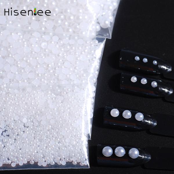 500-1000PCS Hot Flat Back Perla Redonda Blanco Beige Encanto de la manera Estilo Deslumbrante Nail Art Decoration 3D Jewelry Accessories Design