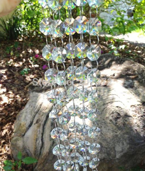 30 m Kristal Akrilik Boncuk Strand Garland Düğün, Avize Kırpma Perde Aydınlatma Dekorasyon, Akrilik Sekizgen Boncuk Diy