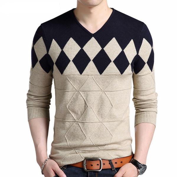Suéter de lana de cachemira Hombres Otoño Invierno Slim Fit Jerseys Hombres Argyle Patrón Con cuello en V Homme Suéteres de Navidad