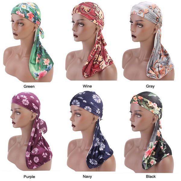 Unique Muslim Men Women Silky Frabic Bandanas Long Tail Hat Wigs Doo Biker Headband Pirate Hat Hair Accessories Headwear Unisex