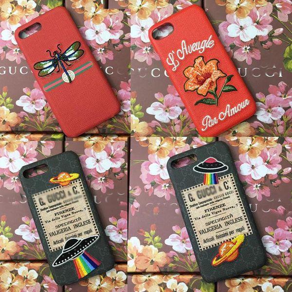 Для iPhone X Xs max Xr чехол Вышивка Цветок НЛО Змея Би Тигр телефон Оболочка для iphone 7 7 пл