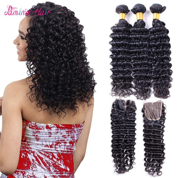 8A Brazilian Deep Wave 3Bundles With Closure Brazilian Virgin Hair With Closure Tissage Bresilienne Brazillian Hair With Closure