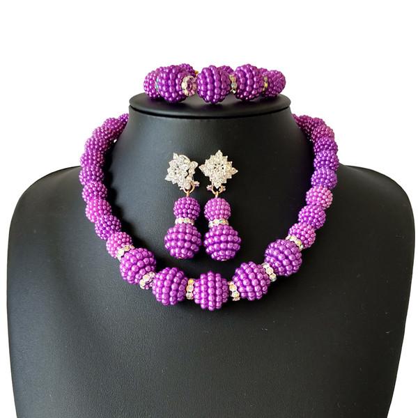 Großhandel Lila Afrikanische Perlen Schmuck Set Nigerianischen Hochzeits Afrikanische Perlen Kristall Schmuck Sets Nigerianischen Perlen Halskette Set