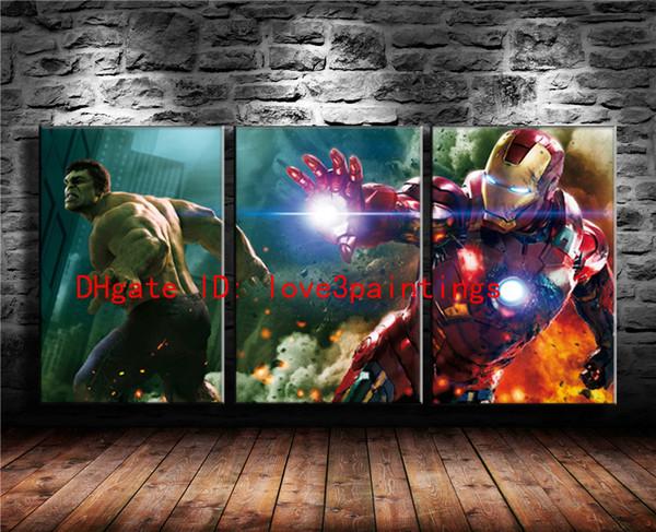Hulk, Iron Man, 3 pezzi Home Decor HD Stampato Arte moderna su tela (senza cornice / con cornice)