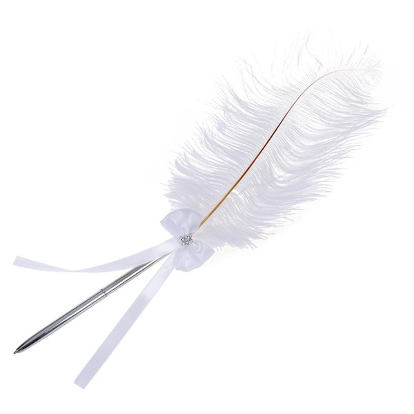 1 PCS Bowknot Wedding Signing Pen White Ostrich Feather Gel Pen Carved Metal for Fancy Font Calligraphy Vintage ZXB04