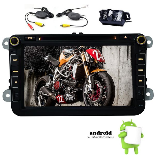 8'' Quad Core Car DVD Player Android6.0 1GB RAM 16GB ROM GPS Radio Video System for VW Wifi Bluetooth Mic in Dash