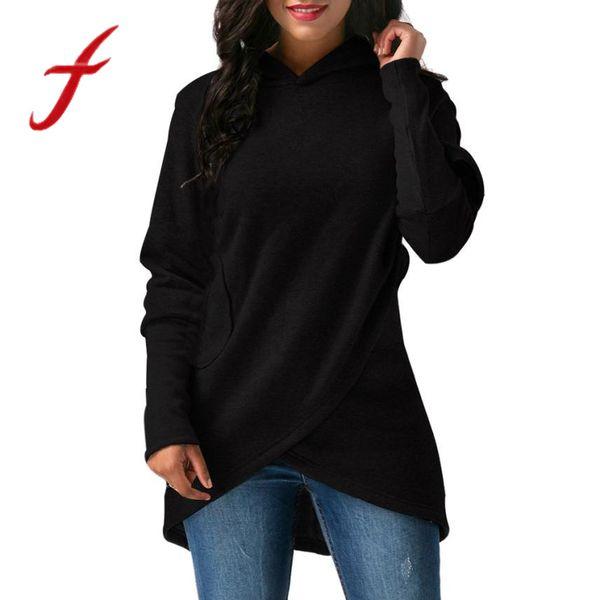 Feitong Womens Sweatshirts Solid Causal Long Sleeve Hooded Asymmetric Hem Wrap Hoodie Sweatshirt Pollover Tops sudaderas mujer