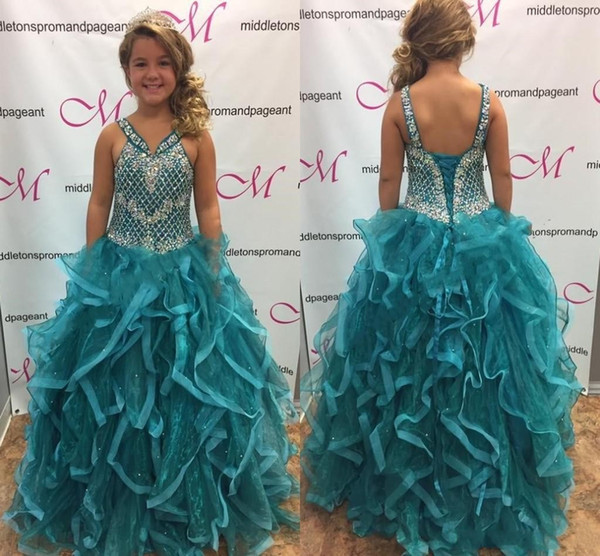 Aqua Hunter Green Tiered Skirts Girls Pageant Dresses Beaded Rhinestones Ruffles Long Kids Formal Gowns with Lace-up Back Flower Girl Dress