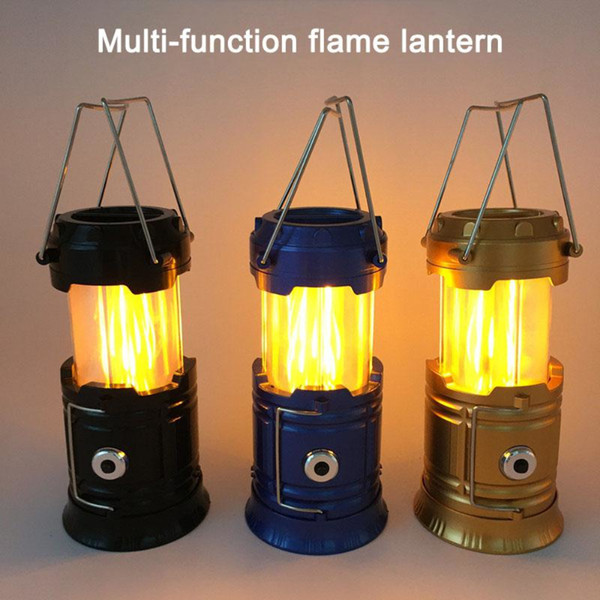 Creative Products 2 Modes 39LED Solar Flame LED Camping Light USB Rechargeable Camping Lantern with Hook