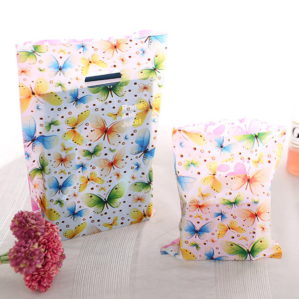 100pcs 15x20cm Colorful Butterfly Plastic Gift Bag With Handles Small Jewelry Packaging Plastic Shopping Handle Pouches H023