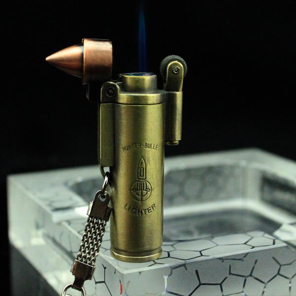 Metal Bullet Şekilli Doldurulabilir Bütan Gaz Windproof Çakmak jet torch ile çakmaktaşı tekerlek anahtarlık taşınabilir Hediye