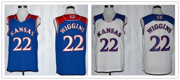 ... sale designer cheap throwsback basketball jerseys 22 andrew wiggins kansas  jayhawks ku college white retro stitched ce91aab04