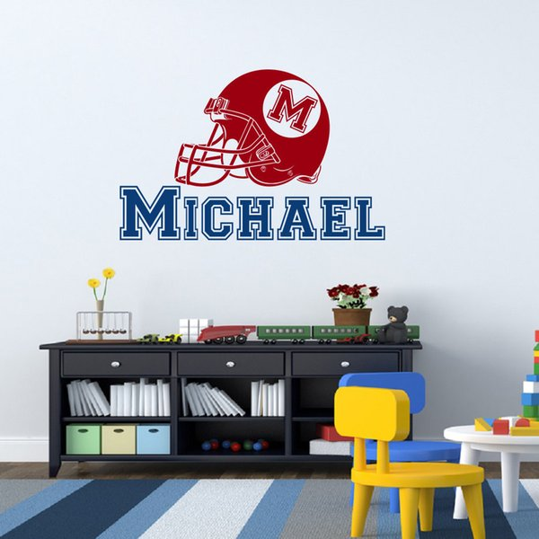 Removable Custom Made Name American Football Hat Wall Sticker for living room Boys Room home wall decoration